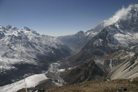 The view back down the Langtang Valley